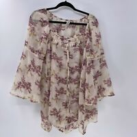 American Rag cie sheer floral blouse sz L Large