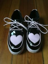Strangecvlt Black and Pink Heart Faux Patent Creepers Womens 9