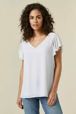 Wallis Womens White Short Frill Sleeve V-Neck Top Blouse T-Shirt Casual