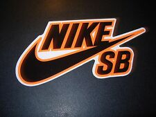 "NIKE 6.0 SB Skate Sticker Swoosh Black Orange 6"" skateboard helmet decal"