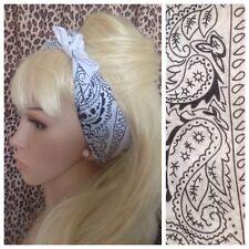 Nuevo blanco de algodón de cuello de pelo de Paisley Bandana Bufanda Vincha urbano 50s Pin Up Retro