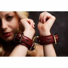 Strict Leather Luxury Burgundy Locking Wrist Cuffs Bondage BDSM Restraints Kinky