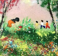 Vintage Signed LOUIS CARDIN Enamel on Copper Painting Children Collecting Flower
