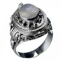 Silber- Giftring mit Regenbogen- Mondstein 925er Silber Gothic