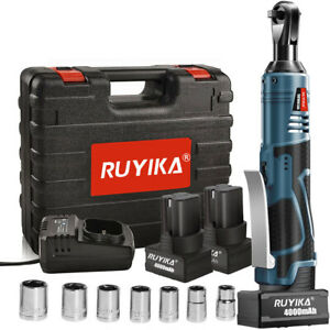 RUYIKA 28V 85Nm Electric Cordless Right Ratchet 3/8'' 90° Angle Wrench 2 Battery