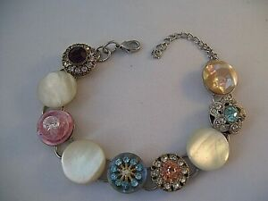 Stacked Vintage Button Bracelet Bling MOP Rhinestone Hand Made Wearable Art OOAK