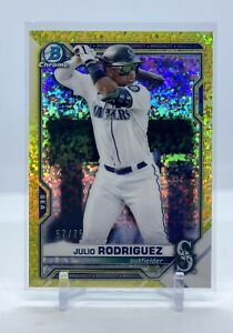 2021 Bowman Chrome Julio Rodriguez - Yellow Speckle Refractor - # /75