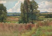 ENGLISH COUNTRY LANDSCAPE Watercolour Painting AGNES LOCKE c1950 IMPRESSIONIST