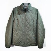 Eddie Bauer Olive Green Puffer Jacket Quilted Long Sleeve Full Zip Womens Sz S