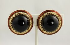 VINTAGE Jewelry CINER SIGNED CLASSIC BROWN ENAMEL BLACK CABOCHON CLIP EARRINGS