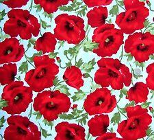 Large Poppies on cream  Fabric fq 50 x 56 cm 100% Cotton JL 91171