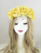 Pastel Yellow Camellia Rose Flower Headband Garland Hair Crown Festival Boho 278