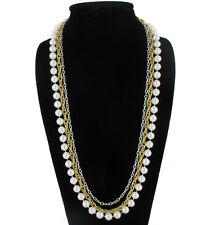 Layered Necklace White 10Mm Faux Pearl Multi Strand Silver Gold Tone Chain