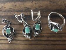 18.65 Grams Sterling Silver Green Agate & Marcasite Ring, Earrings & Pendant Set