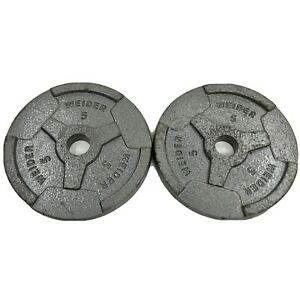 """2 Barbell Iron Weights By Weider 5 Pound Each, Total 10 Pounds 1"""" Standard Hole"""
