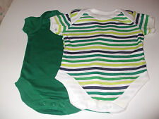 2 NEWBORN BABY POPPER VESTS - GREEN AND GREEN AND WHITE STRIPE - BRAND NEW