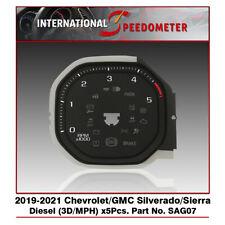 Speedometer Faceplate Fits a 19-21 Chevy/GMC Silverado/Sierra 3D/Diesel x5Pcs.