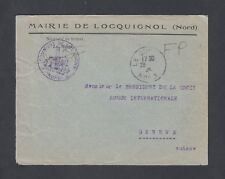 FRANCE 1945 WWII CENSORED MAIRIE DE  LOCQUIGNOL COVER TO  RED CROSS  SWITZERLAND