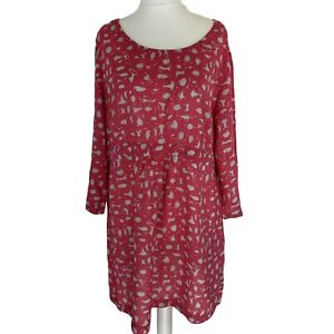 Boden, Pink mix color 3/4 Sleeves Round neck Viscose Dress. UK Size 20. EXC CON.