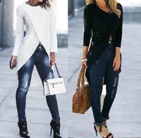 High Low T-Shirt Tunics Long Womens Tops Asymmetrical Blouse Sleeve Cross Shirt