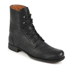 JOHN VARVATOS Black Textured Leather Lace Up Ankle Work Boots Size 11 MSRP $498