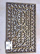 "Designer Gilded Finish Scrolled Rubber Doormat, 18"" x 30"" New with Tags GOLD"