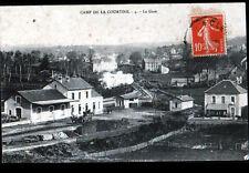 LA COURTINE (23) DEPOT de BOIS , ATTELAGE & TRAIN en GARE animée début 1900