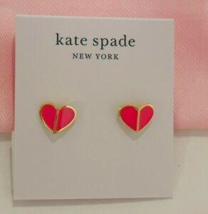 Kate Spade New York Heritage spade small heart stud earrings flamingo pink, gold