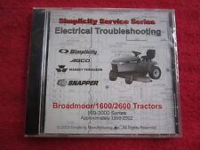 1998-2003 BROADMOOR, 1600, 2600, LAWN TRACTORS ELECTRIC TROUBLESHOOTING CD