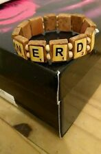 New Stretchy Fashionable Wooden NERD Scrabble Tile Bracelet Unisex