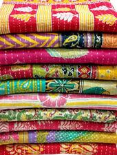 Vintage Kantha Quilt Handmade Indian Cotton Bedspread Lot 5 piece Cotton Kantha