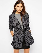 Vero Moda Grey Leopardskin Raincoat Francis Print Trenchcoat XL Black Mackintosh