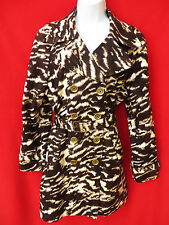 MICHAEL KORS Womens Leopard Brown Off White Double Breasted Belted Coat Jacket L