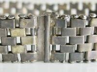 EARLY HANDMADE OLD FORGED ANTIQUE 925 STERLING SILVER GATE BRICK LINK BRACELET