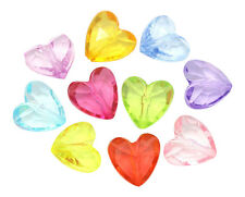 ❤ 50 x Mixed Acrylic Transparent HEARTS Spacer Beads 12mm Jewellery Making ❤