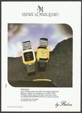 ANDRE LE MARQUAND watch by Bulova    - 1984 Vintage Print Ad
