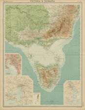 Victoria & Tasmania. Melbourne & Hobart plans. Australia. THE TIMES 1922 map