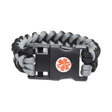 Paracord EMR Medichip Adult Bracelet by Key2Life Color Black and Gray