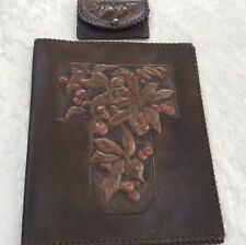 Victorian Leather William Morris Style Writing Folder/Case and Purse.