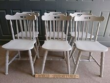 Painted Solid Pine Farmhouse Spindle Back Kitchen Dining Chairs in Paris grey