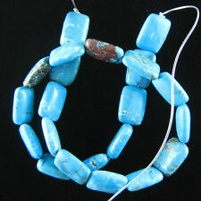 "18mm blue turquoise rectangle beads 16"" strand"