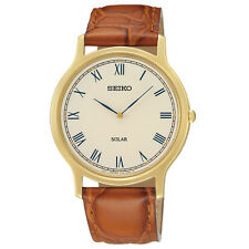 Mens Seiko Solar Brown Leather Band Roman Gold Dial Casual Dress Watch SUP876