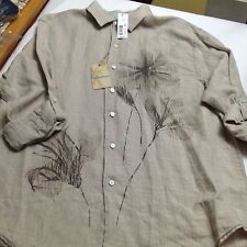 Caribbean Linen Buttondown Men Shirt XL Tropical Natural $89.50 New