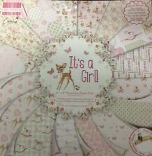 """8"""" x 8"""" 48 sheet full pack IT'S A GIRL baby card making scrapbook craft paper"""