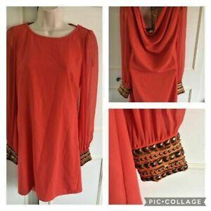 WAREHOUSE - orange shift/tunic dress - Size 10 - chiffon sleeves