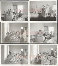 Lot of 6 Vintage Photos Pretty Girls & Boys Eating & Cooking in Kitchen 676395