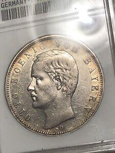 1907-D 5M Anacs AU53 German - Bavaria Silver Five Marks