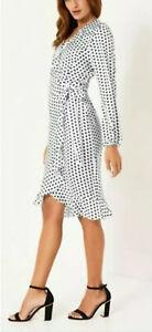 New LIPSY Size 12 WRAP Mono WHITE Black Spot POLKA DOT FRILL HEM  Knee Dress