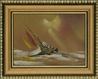 David Deakins (b.1944) - Signed & Framed 20th Century Oil, Choppy Sea