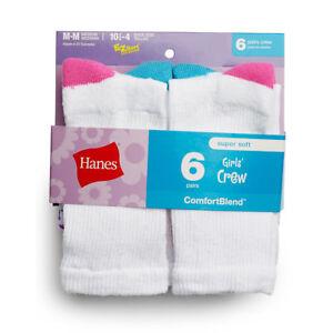Hanes Girls' Crew Socks 6-Pack